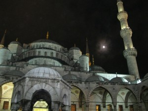 Blue Mosque and full moon